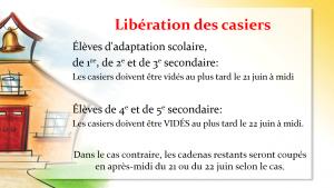 Liberation des casiers